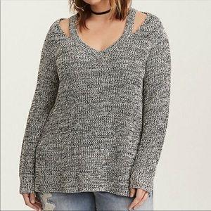 Torrid Marled Split Neck Sweater